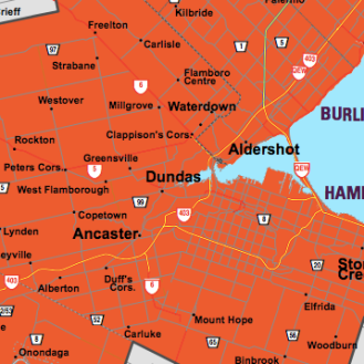 Map of Hamilton Burlington region